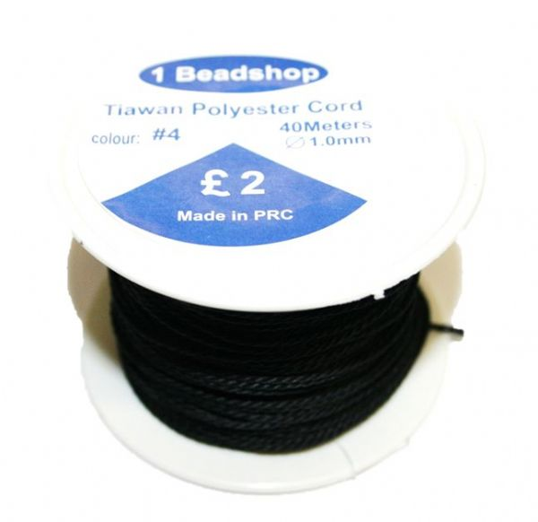 Black 04: 40 Metres x 1.0mm Taiwan polyester cord - 5000058